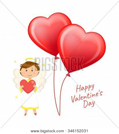 Heart-shaped Balloons And Angel With Wings And Halo Vector. Valentines Day Greeting Card, Love Holid