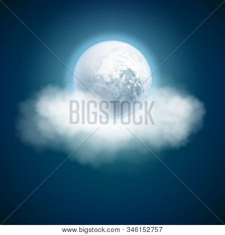 Full Moon And Clouds, Night With Moonlight Sky Background. Eps 10