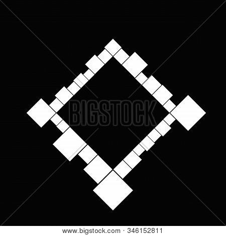 Minimal Black And White Diagonal Square Border - Abstract Geometrical Modern Vector Graphic From Squ