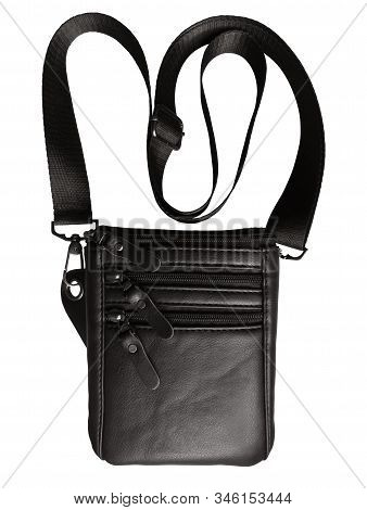 Leather Black Bag Isolated On White Background. Clipping Path Included.