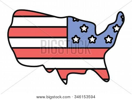 Colorful Flag Of United States Of America. Geographical Boundaries Of Country. Place For Trip, Trave