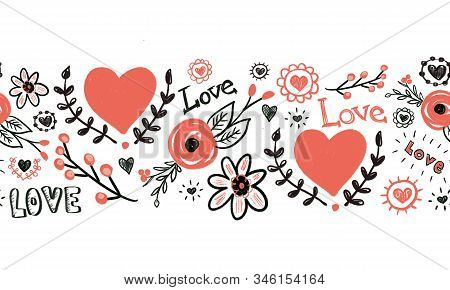 Seamless Border Hearts Flowers Love Valentines Doodles. Hand Drawn Repeating Pattern. Red And Black