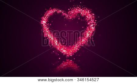 Valentines Day Festive And Luxury Heart 3d Illustration Wtih Bright Particles