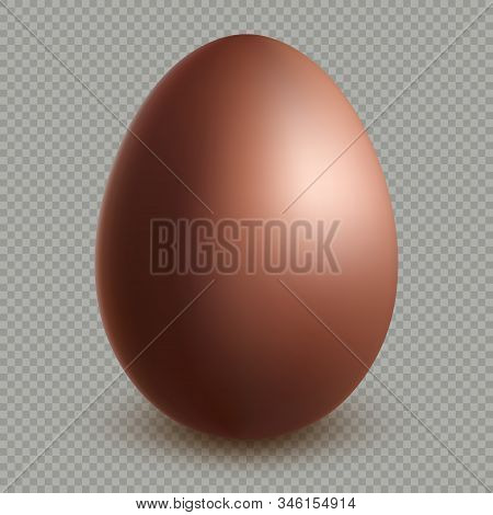Decoration Happy Easter Celebration Template. Chocolate Brown Egg Realistic Dessert 3d Object. Isola