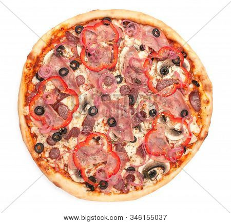 Pizza With Fresh Mushrooms, Hunting Sausages, Olives, Red Bell Peppers, Onions, Mozzarella Cheese, H