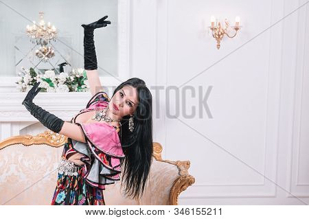 Gorgeous Gypsy Woman Dancing. Photo With Space For Text