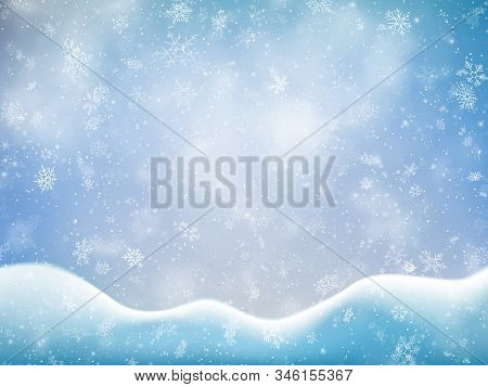 Christmas Banner Template With Falling Snow, Clouds And Snowdrift. Holiday Decoration Backdrop. Eps