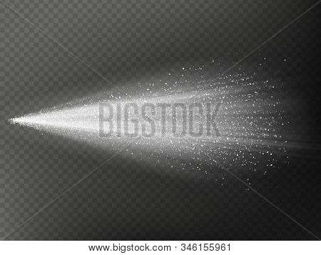 Airy Water Hazy Mist Of Atomizer. Fog Sprayer Cosmetic Effect Isolated On Dark Transparent Backgroun