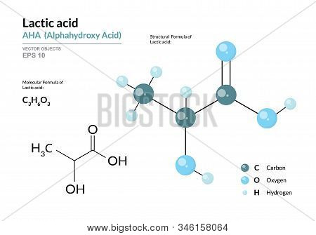 Lactic Acid. Aha Alphahydroxy Acid. Structural Chemical Formula And Molecule 3D Model. Atoms With Co