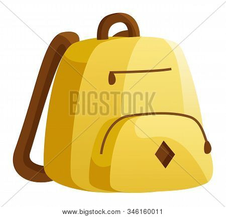 Yellow Backpack, Teenager Casual Accessory. Transporting Educational Materials To And From School, C