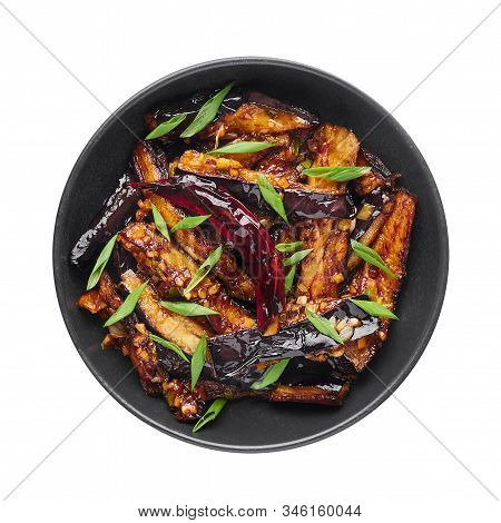 Sichuan Eggplant Stir Fry Isolated At White Background. Eggplant Stir Fry Is Chinese Cuisine Dish Wi