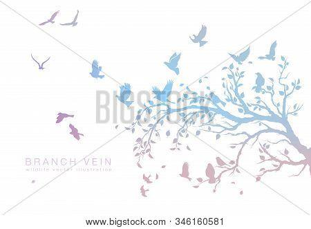 Figure Set Multicolored Flock Of Flying Birds On Tree Branch