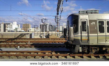 Himeji, Japan- 30 Nov, 2019: Local Train At Himeji Station, Hyogo Prefecture In Japan