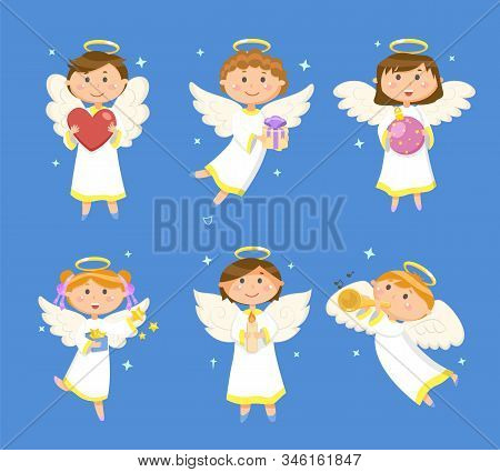 Angels And Cupids, Christmas And Valentines Day Vector. Heart And Gift, Xmas Ball And Gold Stars, Ca