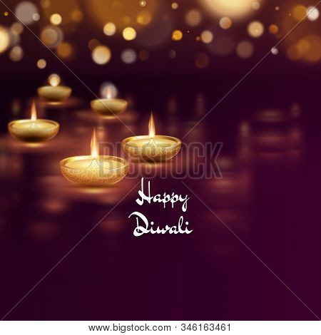 Happy Diwali Diya Oil Lamp Template. Indian Deepavali Hindu Festival Of Lights. Eps 10
