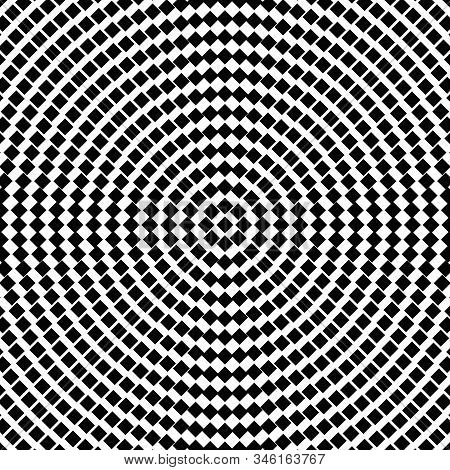 Halftone Geometrical Round Square Pattern Background - Circular Monochrome Vector Graphic