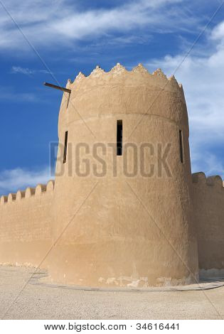 Close view of the eastern tower of Riffa Fort Bahrain