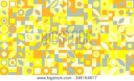 Chaotic Abstract Geometrical Mosaic Pattern Background - Random Colorful Vector Graphic