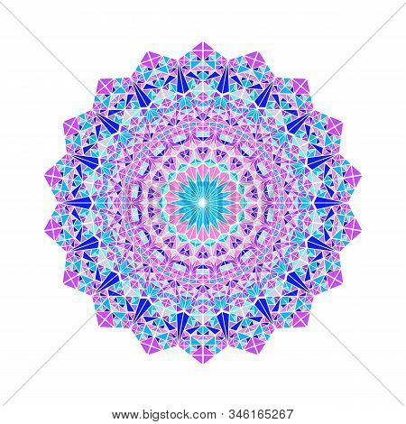Colorful Ornate Mosaic Triangle Pattern Mandala - Circular Abstract Round Vector Element