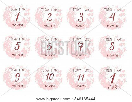 Cute Baby Milestone Cards. Can Use For Monthly Baby Picture Cards And Baby Shower Gift. Adorable Col