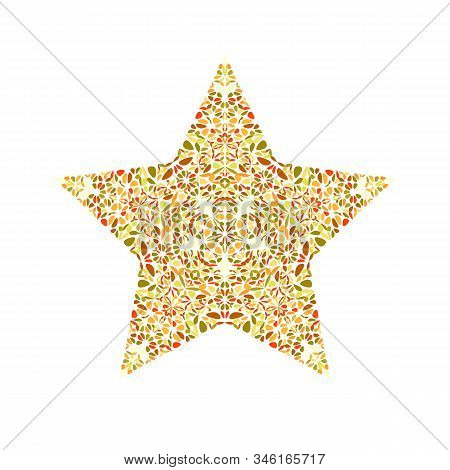 Isolated Abstract Floral Mosaic Ornament Star Symbol Template - Ornamental Colorful Geometrical Vect