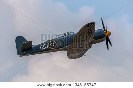 Hampshire, Uk - July, 2018: A World War Ii Hawker Sea Fury T-20 In Flight. July 21, 2018 Hampshire,