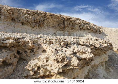 closeup of Weathered limestone rock in Hunanaiya valley Bahrain