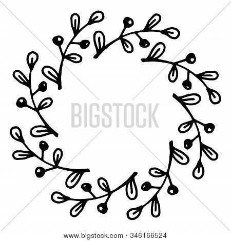 Vector Illustration Of Floral Frame. Rustic. Hand Drawn Simple Line. Black Stroke. Isolated On White