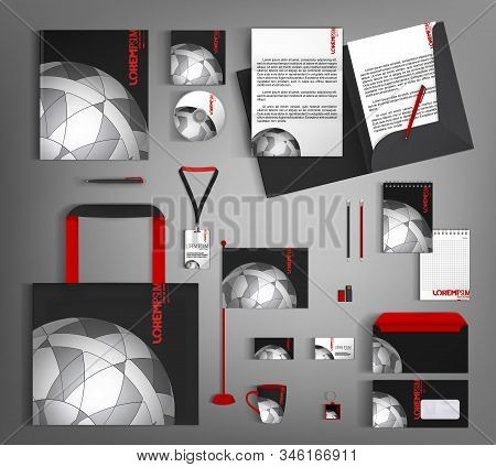 Black Corporate Style With A Gray Semicircular Element. Business Stationery Set.