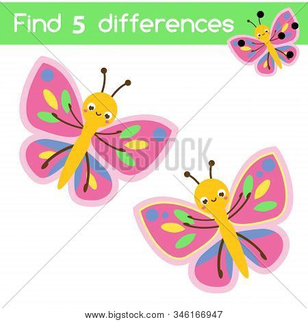 Cartoon Butterfly. Find The Differences Educational Children Game. Kids Activity Fun Page.