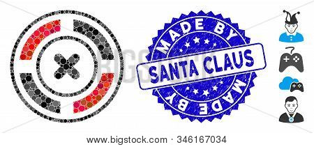 Mosaic Roulette Icon And Grunge Stamp Watermark With Made By Santa Claus Caption. Mosaic Vector Is D