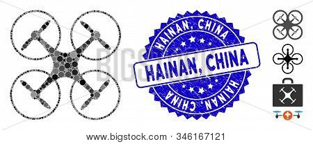 Mosaic Quadcopter Icon And Grunge Stamp Watermark With Hainan, China Text. Mosaic Vector Is Formed F