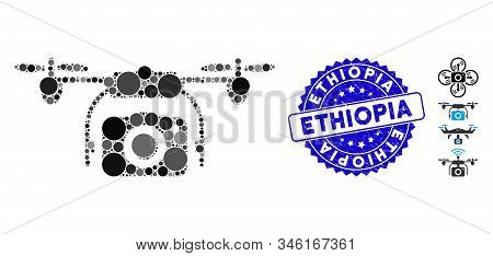 Mosaic Photo Drone Icon And Distressed Stamp Seal With Ethiopia Phrase. Mosaic Vector Is Created Wit