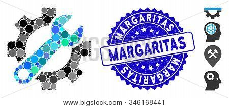 Mosaic Service Tools Icon And Corroded Stamp Watermark With Margaritas Caption. Mosaic Vector Is For