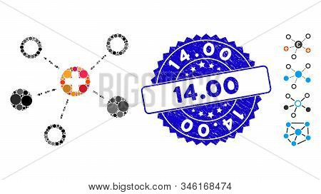 Mosaic Medical Links Icon And Rubber Stamp Seal With 14.00 Caption. Mosaic Vector Is Designed With M
