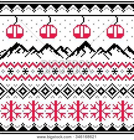 Winter Sports In Mountains, Gondolas Ski And Snowboard Vector Seamless Pattern -  Fair Isle Style Tr