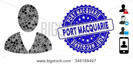 Mosaic User Icon And Distressed Stamp Watermark With Port Macquarie Text. Mosaic Vector Is Created W