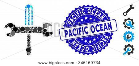 Collage Tools Icon And Grunge Stamp Watermark With Pacific Ocean Caption. Mosaic Vector Is Composed