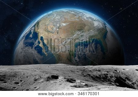 Moon Surface And Planet Earth.