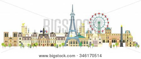 Panoramic Paris City Skyline. Colorful Isolated Vector Illustration On White Background. Vector Silh