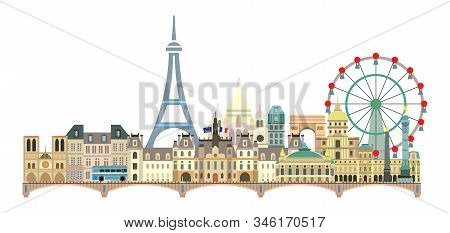 Panoramic Paris City Skyline. Colorful Isolated Vector Illustration On White Background. Vector Illu