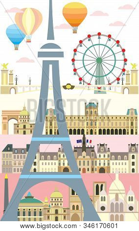 Vertical Poster With Paris City Skyline. Colorful Isolated Vector Illustration On Pink Background. V