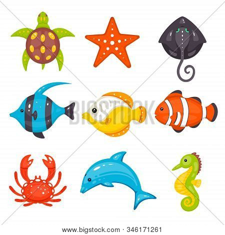 Sea Animals Vector Set In Cartoon Hand Drawn Style. Marine Life And Underwater Creatures Contains Tu