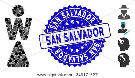 Mosaic Woman Icon And Rubber Stamp Seal With San Salvador Phrase. Mosaic Vector Is Created With Woma