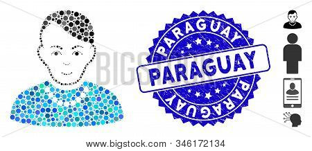 Mosaic Trendy Guy Icon And Corroded Stamp Watermark With Paraguay Phrase. Mosaic Vector Is Composed