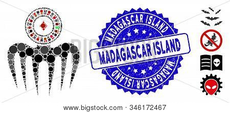 Mosaic Roulette Spectre Monster Icon And Rubber Stamp Seal With Madagascar Island Caption. Mosaic Ve