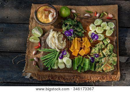 Thai Traditional Local Food : Shrimps Chili Dip Or Nam Prik With Shrimps (nam Prik Goong Sod) With B
