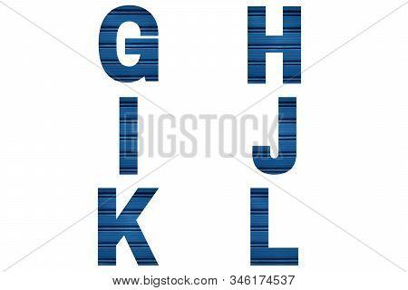Blue Font Alphabet G, H, I, J, K, L Made Of Blue Painted Shutter Or Roller Blind. Bright Alphabet.
