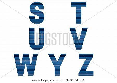 Blue Font Alphabet S, T, U, V, W, Y, Z Made Of Blue Painted Shutter Or Roller Blind. Bright Alphabet