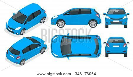Subcompact Blue Hatchback Car. Compact Hybrid Vehicle. Eco-friendly Hi-tech Auto. Easy Color Change.